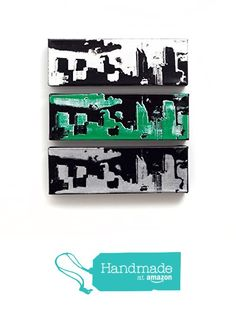 Philadelphia Skyline Canvas Set of 3 (12 x 4 inches each) White, Black, Silver, Green, Philadelphia Eagles Wall Art, Philly Sports Pride, Cityscape Home Decor from Ink the Print http://www.amazon.com/dp/B016QJWSV2/ref=hnd_sw_r_pi_dp_oF.6wb0TCHFHC #handmadeatamazon