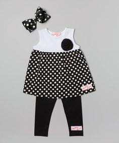 Another great find on #zulily! Black & White Polka Dot Tank Set - Infant, Toddler & Girls #zulilyfinds