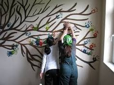Image result for painting school  murals with handprints