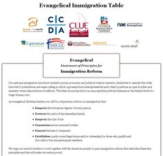 Evangelicals endorse principles for comprehensive immigration reform: http://www.evangelicalimmigrationtable.com/. The Catholic Church in the US supports these efforts: http://www.christianpost.com/news/catholic-church-supports-evangelical-statement-on-immigration-reform-76605/