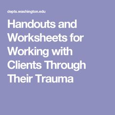 Trauma PDFs handouts for therapists and patients | Behavioral ...