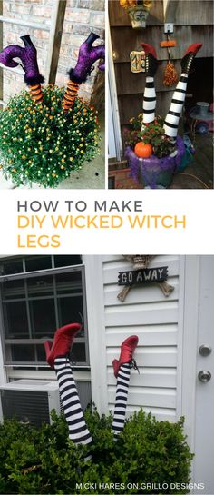 DIY wicked witch legs are the perfect freaky decor for Halloween. They are…These DIY wicked witch legs are the perfect freaky decor for Halloween. Casa Halloween, Halloween Tags, Halloween Prop, Halloween Party Decor, Diy Party Decorations, Holidays Halloween, Happy Halloween, Diy Outdoor Halloween Decorations, Halloween Garden Ideas