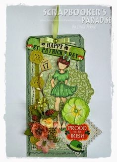 Paper Doll Craft, Prima Paper Dolls, Prima Doll Stamps, Doll Crafts, Happy March, Scrapbook Paper Crafts, Paper Crafting, Atc Cards, Happy St Patricks Day