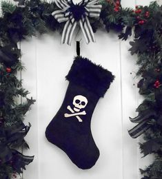 Punk Goth Pirate Christmas Stocking Skull and Crossbones, White Faux Fur, Black Canvas Liner Dark Christmas, Halloween Christmas, Christmas Wreaths, Christmas Ideas, Xmas Stockings, Ideias Diy, Pirate Skull, Christmas Embroidery, Skull And Crossbones