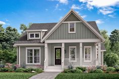 Front elevation of Craftsman home (ThePlanCollection: House Plan #142-1165)