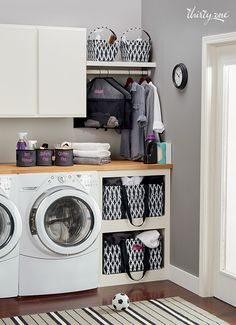 Doing the wash might not be fun, but at least it can be cute with laundry room solutions in coordinating prints.