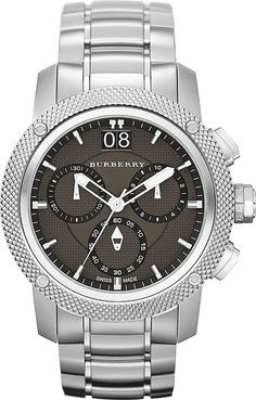 Burberry BU9800 Watch Utilitarian Mens - Black Dial Stainless Steel Case Quartz Movement. Burberry BU9800 Men's Utilitarian Silver Tone Stainless Steel Bracelet Chronograph Watch.