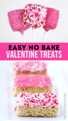 Easy No Bake Valentine Desserts And Treats. Marshmallows and krispy treats! Can even make these ones gluten free!