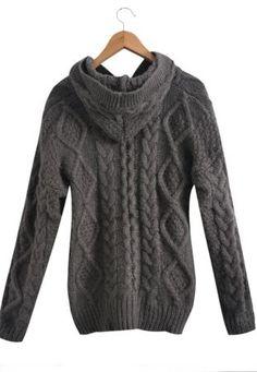 Dark Grey Hooded Long Sleeve Cardigan Sweater Coat - Sheinside.com