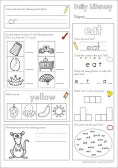 Daily Literacy Morning Work - Set 3 (Sight Words / Beginning Blends / Writing CVC words) So many concepts on the one page. Great for Kindergarten and First Grade and also Second Grade revision.