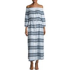 FAITHFULL Women's Sun Cotton Striped Maxi Dress - Dark Blue, Size M ($99) ❤ liked on Polyvore featuring dresses, dark blue, off the shoulder maxi dress, dark blue dress, off-the-shoulder dress, striped dress and sleeved maxi dress