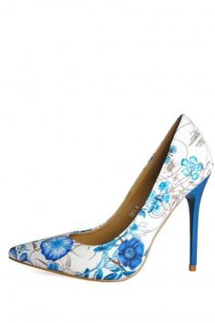 Abby Pointed Court Shoes in Blue Flower Wedding Outfits, Court Shoes, Blue Flowers, Stiletto Heels, Pumps, Floral, Fashion, Wedding Undergarments, Florals