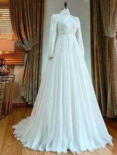 Worst Wedding Dress, Muslim Wedding Gown, Muslimah Wedding Dress, Wedding Gown A Line, Muslim Wedding Dresses, Wedding Dress Sleeves, Long Sleeve Wedding, Bridal Dresses, Wedding Gowns