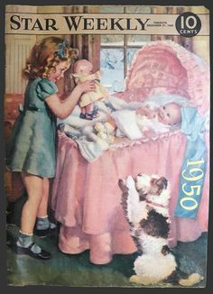 1949 Star Weekly Cover ~ Child with Doll & Baby