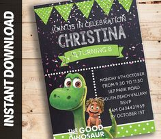 Editable Instant Download THE GOOD DINOSAUR  Printable Birthday Invitation Invite Printable Party Personalised DiY.
