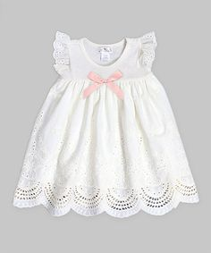 Look at this Truffles Ruffles Ivory & Soft Coral Eyelet Dress - Infant on #zulily today!