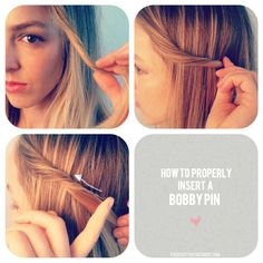Push the bobby pin in the opposite direction that the hair is going. I always have the hardest time with this!