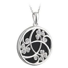 Sterling Silver w/ CZ & Onyx Round Shamrock Necklace - Jewelry Gifts for St. Patrick's Day