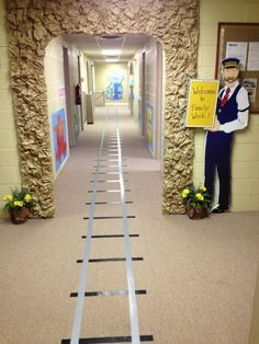 IMAGE ONLY // Great idea to use duck tape on the floor as train tracks for a Polar Express party. Polar Express Christmas Party, Ward Christmas Party, Office Christmas, Christmas Door, Xmas, Christmas Dance, Halloween Office, Christmas Jokes, Cheap Christmas