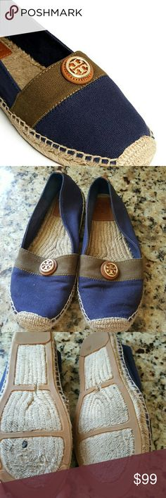 TORY BURCH BLUE AND TAN ESPADRILLES Lightly worn in good condition. Blue and brown ESPADRILLES. Light wear on soles and one small hole. See 4th pic. Tory Burch Shoes Espadrilles