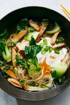 Somen Noodles With Poached Egg Bok Choy and Mushrooms Recipe NYT Cooking Vegetarian Noodle Soup, Vegetarian Recipes, Cooking Recipes, Healthy Recipes, Easy Recipes, Noodle Soups, Pancake Recipes, Crepe Recipes, Waffle Recipes
