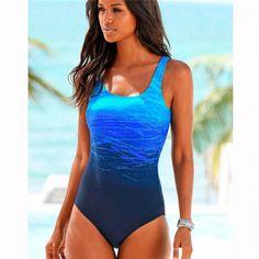 Dámské plavky Hillary - modré Plavky Nadměrné Velikosti 0ec031620c