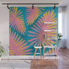Bright Tropicals Wall Mural by kristiangallagher Tropical Patio, Tropical Wall Decor, Modern Tropical, Mural Art, Wall Murals, Goat House, Wall Painting Decor, Garden Walls, Bright Walls