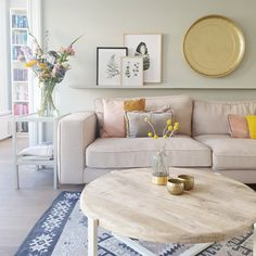 New Living Room Beige Sectional Interior Design Ideas Small Living Room Furniture, Desk In Living Room, Living Room Furniture Arrangement, Small Living Rooms, Living Room Interior, Home And Living, Beige Sectional, Bedroom Decor, Interior Design