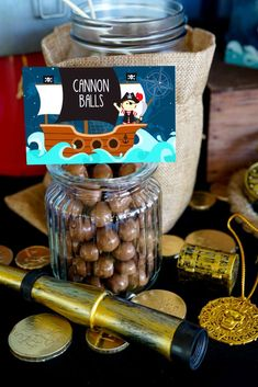 Fill a jar of Maltesers and serve 'Cannon Balls' at your Classic Pirate birthday party!! See more party ideas and share yours at CatchMyParty.com #catchmyparty #pirate #partyfood