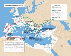 Movement of the Germanic tribes- Vandals, Alans, Suebi towards Spain, Visigoths under Alaric invade Italy and Greece