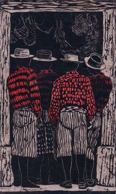 """Getting the News by Anne Moore    Linocuts, 11"""" x 6.5"""" block"""