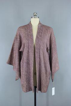 1950s Vintage Silk Haori Kimono Jacket Cardigan in Purple Shibori  #vintage #shopvintage #vintageclothing #thisbluebird