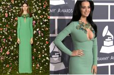 Katy Perry in a Gucci, Red Carpet Grammys 2013
