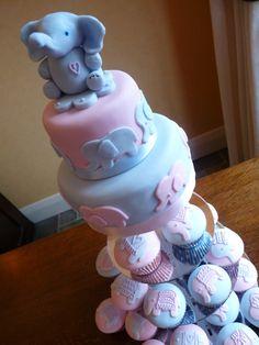 elephant cake, beautiful christening or first birthday cake