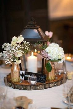 50 Romantic And Comfortable Rustic Winter Wedding Centerpiece Decoration Ideas - Page 26 of 50 - Chic Hostess Winter Wedding Centerpieces, Lantern Centerpiece Wedding, Diy Wedding Decorations, Centerpiece Ideas, Lantern Wedding, Wedding Ideas, Wedding Rustic, Centrepieces, Decor Wedding