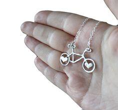 Mini Sterling Bike Necklace with Hearts by RachelPfefferDesigns