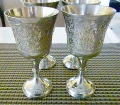 Silver Plate Brass Etched Goblets Set of Four by oldandnew8