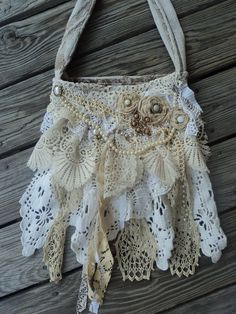 Handmade Cross Body Boho Vintage Lace Bag by frayedandfabulous - designer handbags outlet, women's designer handbags sale, designer handbags for less *ad Hippie Vintage, Vintage Shabby Chic, Vintage Lace, Handmade Purses, Handmade Handbags, Lace Purse, Hippie Purse, Hippie Bags, Boho Bags