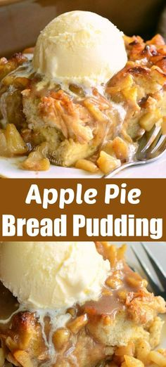 Amazing apple pie bread pudding wonderful warm apple treat better than apple pie! comforting bread pudding made with apple pie filling serve with ice cream for heavenly treat apple dessert falldessert applepie breadpudding apple crisp shortbread bars Apple Recipes, Sweet Recipes, Baking Recipes, Bread Recipes, Best Apple Desserts, Apple Deserts, Lasagna Recipes, Apple Dessert Recipes, Ramen Recipes