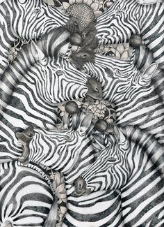 Illustration by Tara Dougans. Psycadelic Art, Op Art, Graphic Design Illustration, Illustration Art, Zebra Art, Ghost In The Machine, Last Unicorn, Printable Art, Painting & Drawing