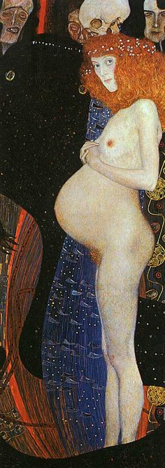 I was fortunate to be able to see this painting at a Klimt exhibition. I spent a lot of time in front of this piece and I found it to be very haunting.  Hope I, by Gustav Klimpt