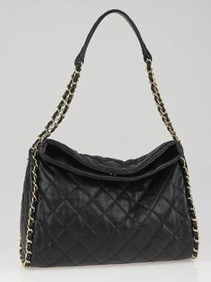 Chanel Black Quilted Leather Chain Me Medium Hobo Bag....Neeeeeed this bag