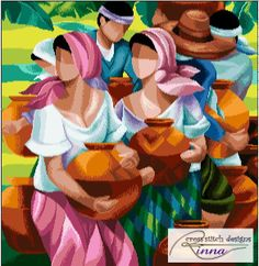 'Magpapalayok' - a Filipino Art in Cross Stitch- Pattern in PDF by Cross Stitch Designs Rinna Cross Stitch Designs, Cross Stitch Patterns, Filipino Art, Philippine Art, Cubism Art, Terracotta Pots, Watercolor Art, Crafts, Etsy