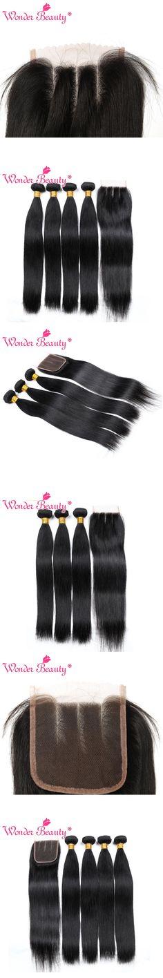 Wonder Beauty 4 Bundles Deal Peruvian Straight Hair Weaves 3 bundles with lace closure Three part 100% Human Hair Extensions