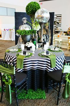 """""""Classic Fusion"""" Tablescape by clarissa Decoration Table, Dinner Table, Table Linens, Event Decor, Tablescapes, Wedding Table, Wedding Decorations, Black And White Party Decorations, Decor Wedding"""