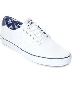 Lakai Porter White   Navy Shark Print Canvas Skate Shoes 09adaae0760