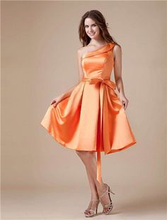 Bruidsmeisjes-vintage oranje satijnen een schouder thee lengte bruidsmeisje jurk