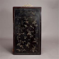 A Large Embellished and Lacquered-Wood Wall Panel.definitely want something like this! Wood Panel Walls, Wood Wall, Chinese Furniture, Flower Branch, White Jade, Kitchen Cabinet Doors, Laque, Jade Pendant, Dangles