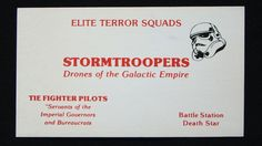 If Star Wars Characters Had Business Cards: Stormtroopers