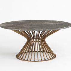 DwellStudio Baldwin Coffee Table in Brown Marble/Antique Gold